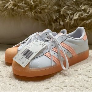 Adidas White/Peach Athletic Sneakers